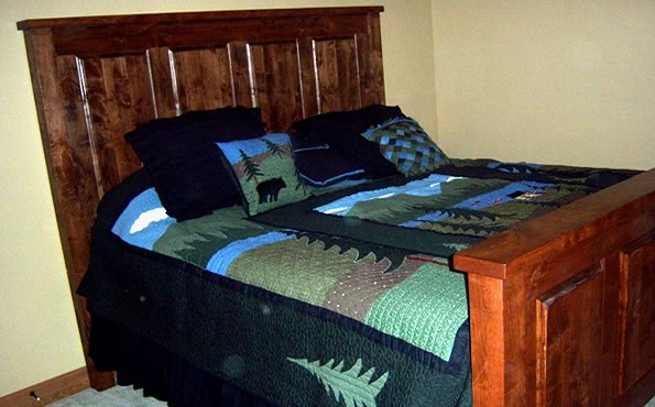 Alder raised panel king bed