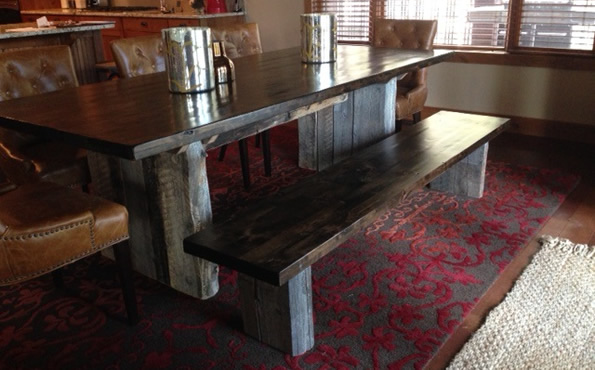 Barnwood base table w/alder top and bench