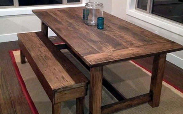 Rustic fir table and bench