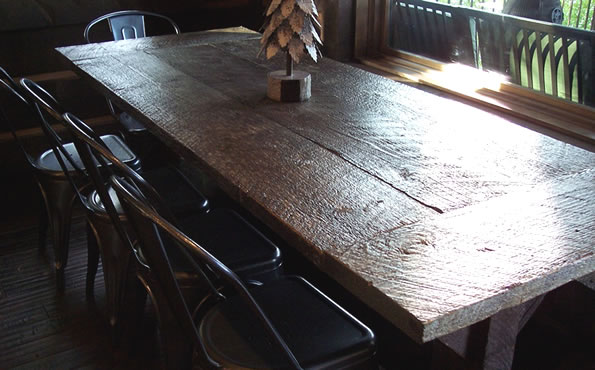 Grey barnwood breadboard table
